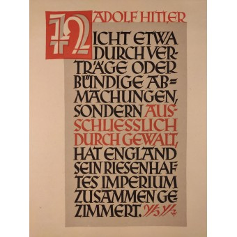 German NSDAP poster with the popular political saying of the leaders of the 3rd Reich. Espenlaub militaria