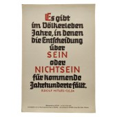 Propaganda poster. NSDAP weekly quote by Adolf Hitler.