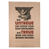 WW2 Poster. Unfaithfulness has defeated our people once. Adolf Hitler