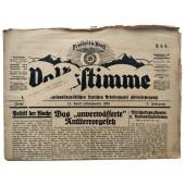 The Volksstimme, Hitlerbewegung DNSAP newspaper, April 12, 1930 pre 3 Reich