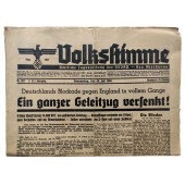 The Volksstimme - official daily by NSDAP - 25th of July 1940 - A whole convoy sunk!