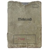 Pre-war early type Wehrpass with cover issued to a member of Panzer (tank) unit