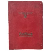 Soldbuch with red cover issued for Sanitaets-Feldwebel winner of Iron Cross 1st class