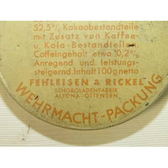 Wehrmacht Scho-Ka-Kola chocolate steel can dated 1938. Espenlaub militaria