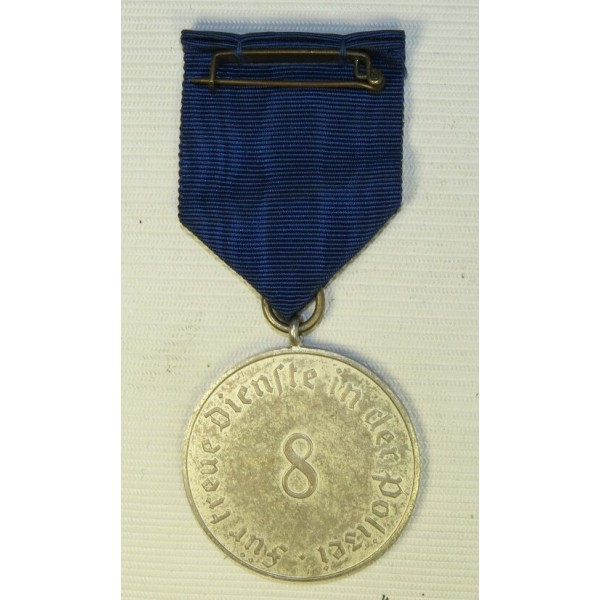 Police Long Service Award, 8 Years Of Service, Medal, Silvevred