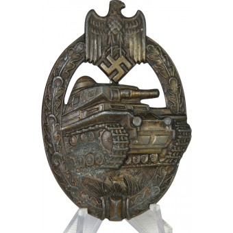 Tank assault badge in bronze, hollow, marked  A.S.. Espenlaub militaria