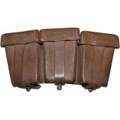 German Mauser K98 DAK or Luftwaffe brown leather ammo pouch, 1941