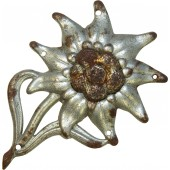 "Steel made Gebirgsjager Edelweiss  badge. Marked ""GB"""
