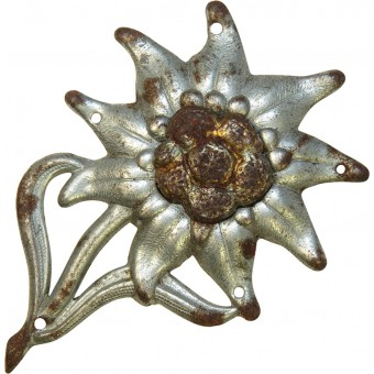 Steel made Gebirgsjager Edelweiss  badge. Marked GB. Espenlaub militaria