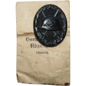 Emil Peukert early Wound badge 1939 in black with paper bag