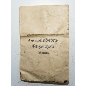 Emil Peukert early Wound badge 1939 in black with paper bag. Espenlaub militaria