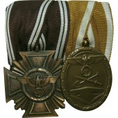 Medal bar NSDAP-Dienstauszeichnung in Bronze and Westwall medal