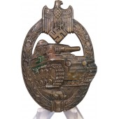 Panzer Assault badge in Bronze made by AS - Adolf Schwerdt