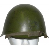 Soviet Russian Ssch-39 steel helmet with early Italian style oilcloth liner