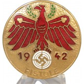 1942 Pistole Shooting Tirol badge in gilded bronze
