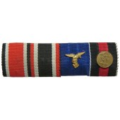 3rd Reich ribbon bar for 4 awards. Iron Cross, KVK 1939, medal for 4 years