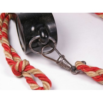 Hitler Youth whistle on a colored red-white cord. Espenlaub militaria