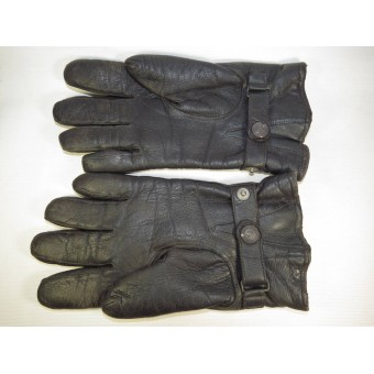 German leather officers gloves in big size, grey leather.. Espenlaub militaria