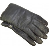 German leather officer's gloves in big size, grey leather.