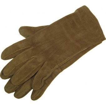 German leather officers gloves in medium size, light brown suede.. Espenlaub militaria