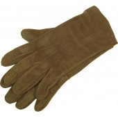 German leather officer's gloves in medium size, light brown suede.