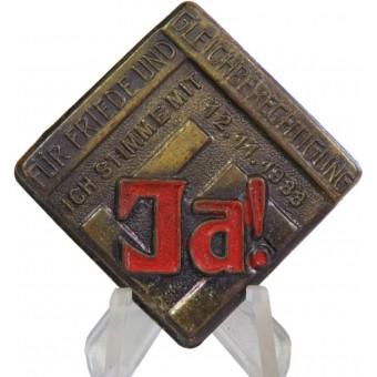 NSDAP supperter badge 12.11.1933-JA!