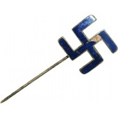 Pre-ww2 period made pin with horizontal blue enameled swastika.