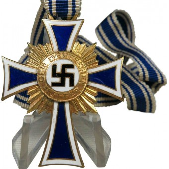 WW2 German mother cross in gold with original ribbon. Espenlaub militaria