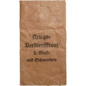 Bag of issue for the War merit cross 1939 w/swords. Türks Witwe