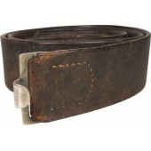 German combat leather belt, early type,  unit marked 1./A.R.3/