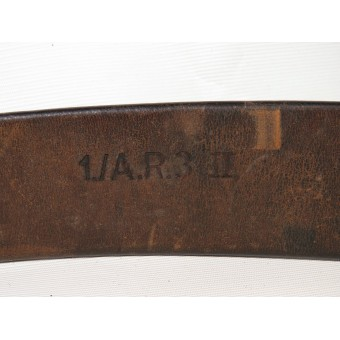 German combat leather belt, early type,  unit marked 1./A.R.3/. Espenlaub militaria