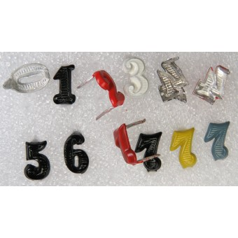 Colored ciphers for German WW2 shoulder boards.10 mm. Espenlaub militaria