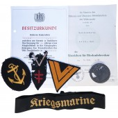 Set of badges, awards, papers belonged to the German navy soldier