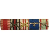 Wehrmacht ribbon bar.  Austria medal, Hungary and 3rd Reich. 5 Awards.