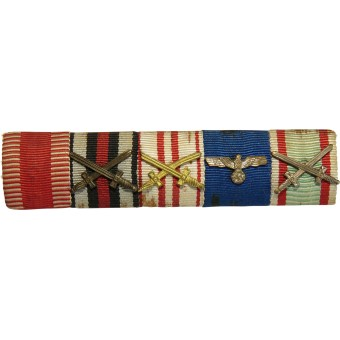 Wehrmacht ribbon bar.  Austria medal, Hungary and 3rd Reich. 5 Awards.. Espenlaub militaria