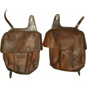 Soviet horse /motorcycle universal leather equipment bags, set of 2.