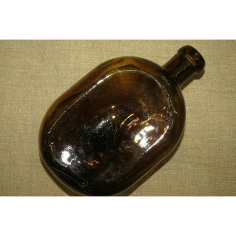 War time soviet Russian water bottle, brown glass,with  factory stamp!. Espenlaub militaria
