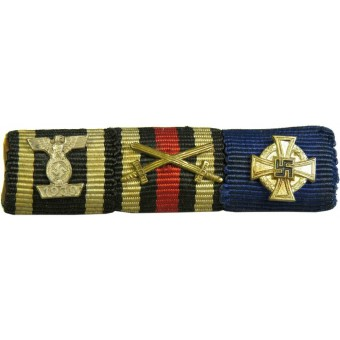 WW1 veterans ribbon bar with WW2 Iron cross Spange. Espenlaub militaria