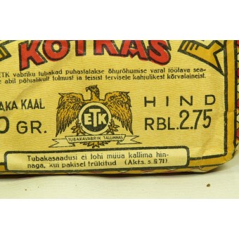 WW2 or pre-war Tobacco pack Kotkas, made in Soviet Estonia. Espenlaub militaria