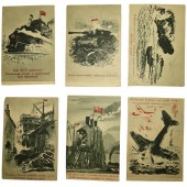 WW2 Set of 6  propaganda post cards.  Printed in 1945. Rare!
