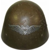 3rd Reich Luftschutz re-issued Czech M32 steel helmet