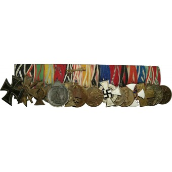 Medal bar with 16 medals, from pre-ww1 period till ww2. Espenlaub militaria