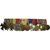 Medal bar with 16 medals, from pre-ww1 period till ww2