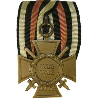 Hindenburg cross with swords-ICM marked on ribbon bar. Espenlaub militaria
