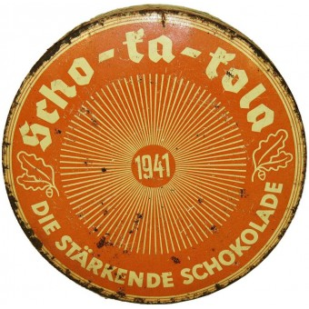 Wehrmacht  Packung Scho-ka-kola chocolate can dated 1941. Espenlaub militaria