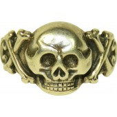 German traditional skull ring, sterling silver