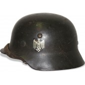 Wehrmacht Heer M35 helmet, late type issue, single decal ET62