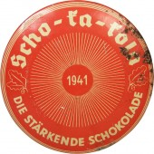 The tin of Scho-ka-kola chocolate for Wehrmacht
