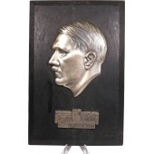 Adolf Hitler wall honor plaque, metal made on the oak frame