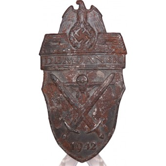 Demyansk sleeve shield 1942. Steel. Battlefield found. Espenlaub militaria